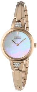 Citizen Women's EX1153-54D Silhouette Eco-Drive Rose Gold-Tone Stainless Steel Bangle Watch with Swarovski Crystal Accents