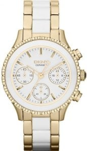 DKNY Gold-Tone And Ceramic Chronograph Ladies Watch NY8830