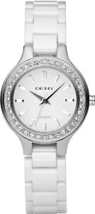 DKNY Ladies White Ceramic Stone Set Bracelet Watch