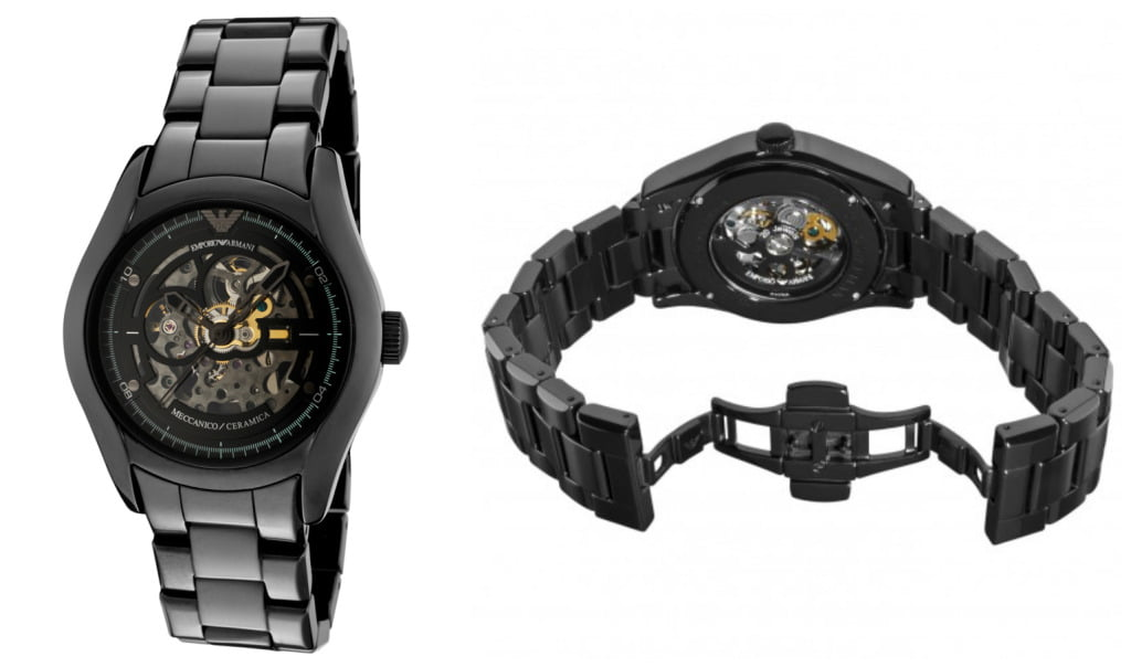 Emporio Armani Men's AR1414 Ceramic Black Skeleton Dial Watch