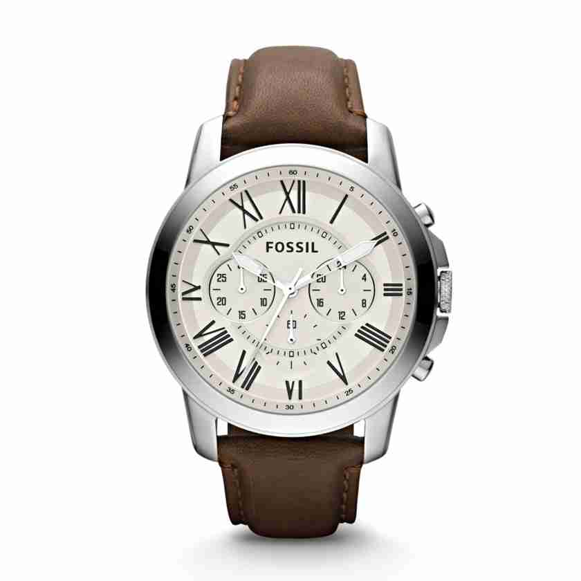 Case material: silver and gold stainless steel. Case diameter: 44 mm. Water resistant: 50 meters. Fossil Men's Blue Dial Leather Band Chronograph Watch ...