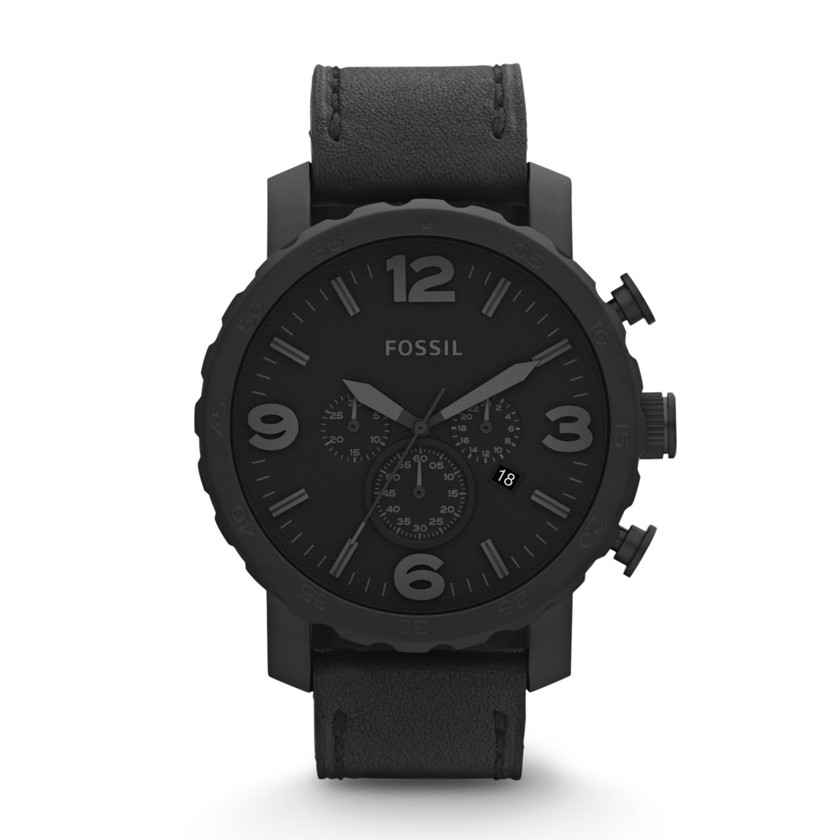 Fossil Men's JR1354 Nate Chronograph Leather Watch - Black