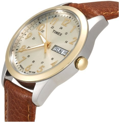 Timex Men's T2N105 Elevated Classics Dress Brown Leather Strap Watch2