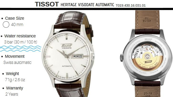 Tissot Heritage Visodate best mechanical watch under 500