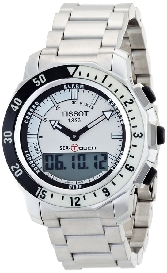Tissot Men's T0264201103100 Sea Touch Quartz Chronograph Touch Screen White Dial Watch