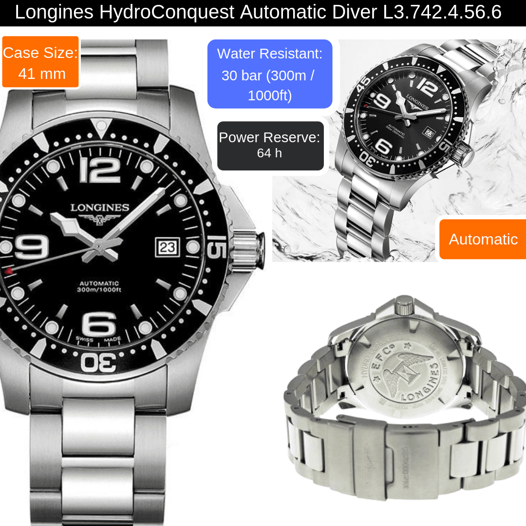 longines hydroconquest automatic watch for men